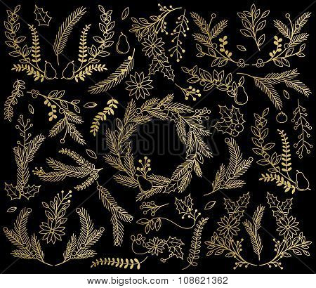 Vector Collection of Faux Gold Foil Christmas Holiday Florals