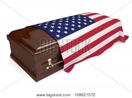 Coffin covered with the national flag of the United States
