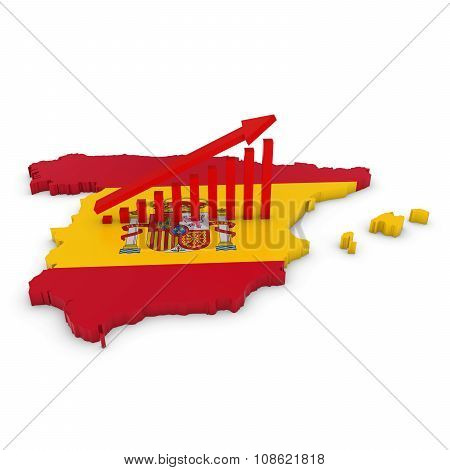 Spanish Economic Growth Concept Image - Upward Sloping Graph On 3D Outline Of Spain Textured With Th