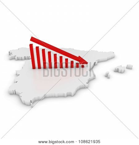 Spanish Economic Decline Concept Image - Downward Sloping Graph On White 3D Outline Of Spain