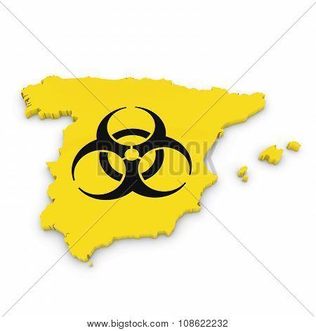 Spanish Biological Hazard Concept Image - 3D Outline Of Spain Textured With Biohazard Symbol