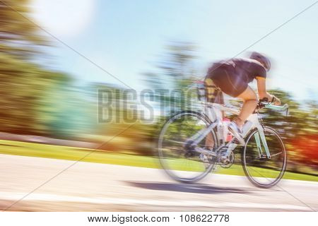 Racing Cyclist, motion blurred image