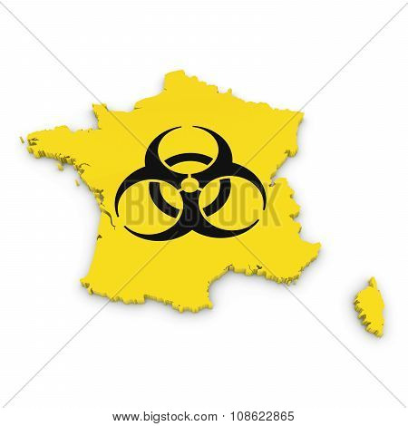 French Biological Hazard Concept Image - 3D Outline Of France Textured With Biohazard Symbol