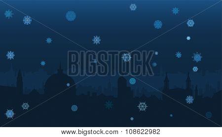 Winter city panorama