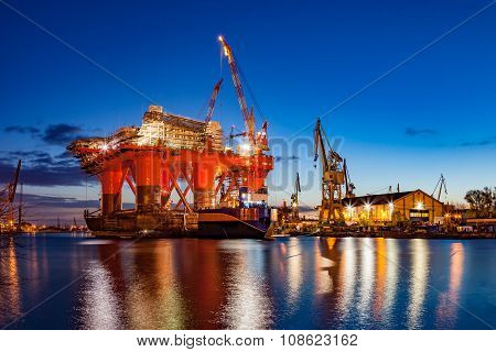 Shipyard At Night