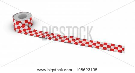 Red And White Checkered Tape Roll Unrolled Across White Floor