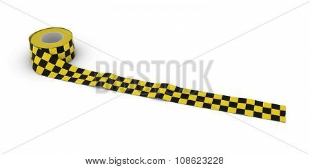 Yellow And Black Checkered Barrier Tape Roll Unrolled Across White Floor