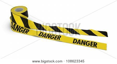 Striped Barrier Tape And Danger Tape Rolls Unrolled Across White Floor