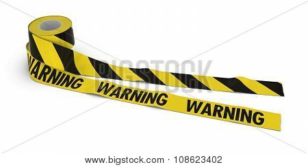 Striped Barrier Tape And Warning Tape Rolls Unrolled Across White Floor