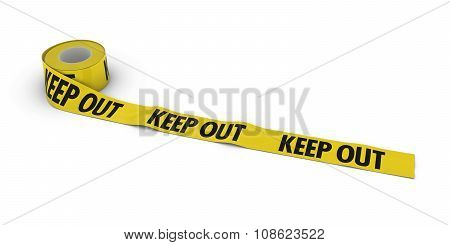 Keep Out Tape Roll Unrolled Across White Floor