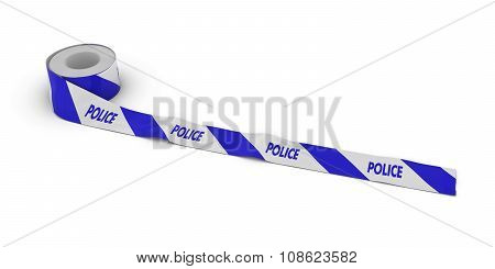 Blue And White Striped Police Tape Roll Unrolled Across White Floor