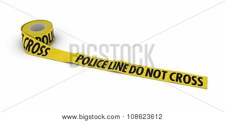 Police Line Do Not Cross Tape Roll Unrolled Across White Floor