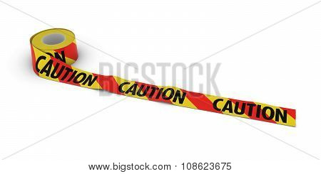 Red And Yellow Striped Caution Tape Roll Unrolled Across White Floor