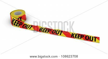 Red And Yellow Striped Keep Out Tape Roll Unrolled Across White Floor