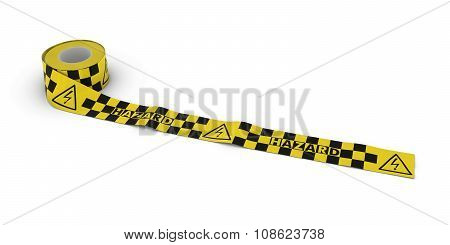 Electric Shock Hazard Tape Roll Unrolled Across White Floor