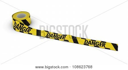 Yellow And Black Striped Danger Tape Roll Unrolled Across White Floor