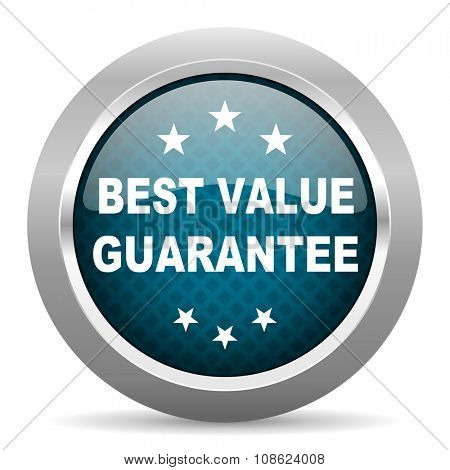 best value guarantee blue silver chrome border icon on white background