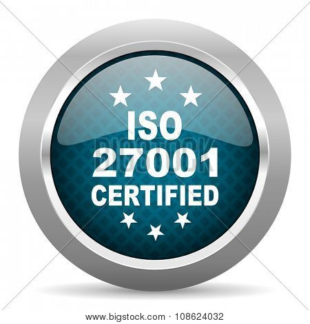 iso 27001 blue silver chrome border icon on white background