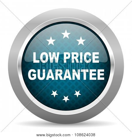 low price guarantee blue silver chrome border icon on white background