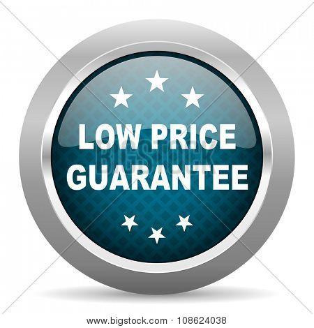 low price guarantee blue silver chrome border icon on white background