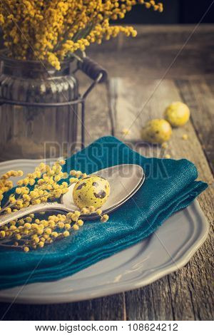 Easter Table Setting With Spring Flower And Eggs On Wooden Background