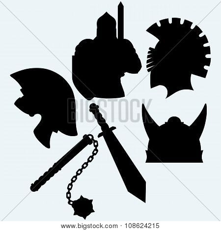 Crusader metallic knight's helmet, sword and mace