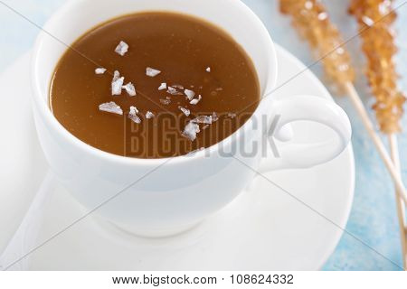 Caramel pudding with flaked salt