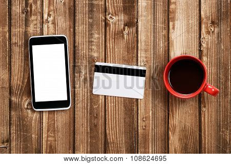 Coffee Cup, Cell Phone And Plastic Card Mock-up
