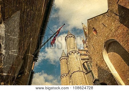 Old Postcard With Gothic Facade Of The Church Of Our Lady, Bruges, Belgium 2