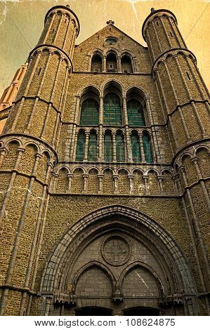 Old Postcard With Gothic Facade Of The Church Of Our Lady, Bruges, Belgium 1