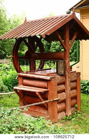 Wooden Rural Water Well Made From Log