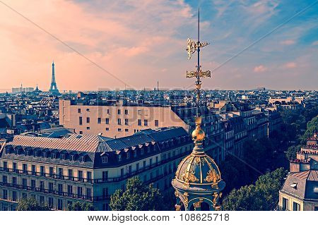 Old Photo With Aerial View From Paris, France