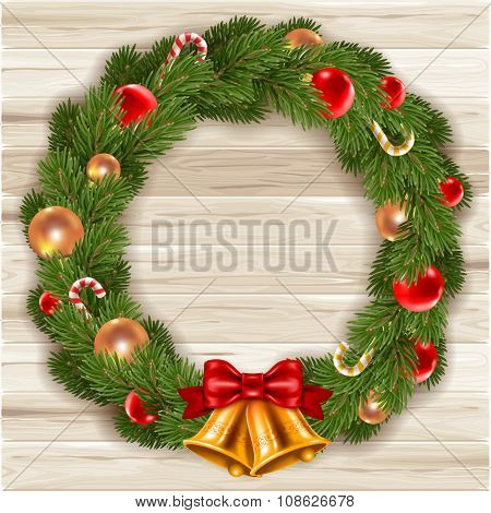 Fluffy Christmas wreath with fir-tree branches and christmas decorations on wooden background. Red and golden christmas balls, jingle bells and candy canes. Vector illustration.