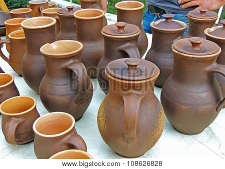 Earthenware Pots And Mugs