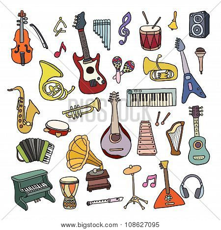 Set Of Music Instruments.