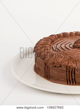 Homemade chocolate cake served on a plate