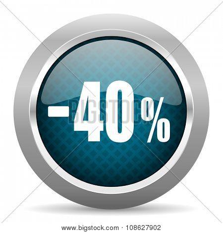 40 percent sale retail blue silver chrome border icon on white background