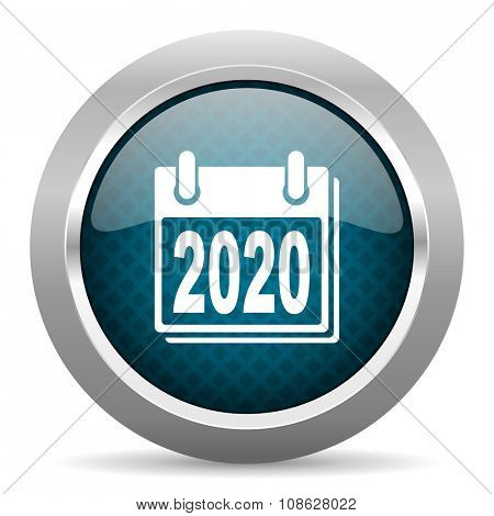 new year 2020 blue silver chrome border icon on white background
