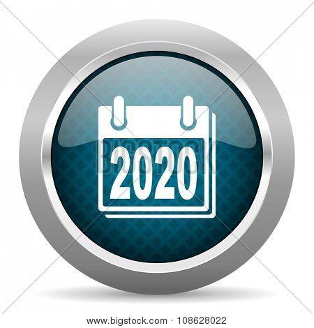 new year 2020 blue silver chrome border icon on white background