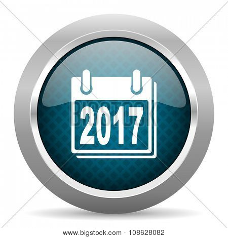 new year 2017 blue silver chrome border icon on white background