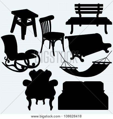 Set of furniture: rocking chair, stool, sofa, bench and hammock
