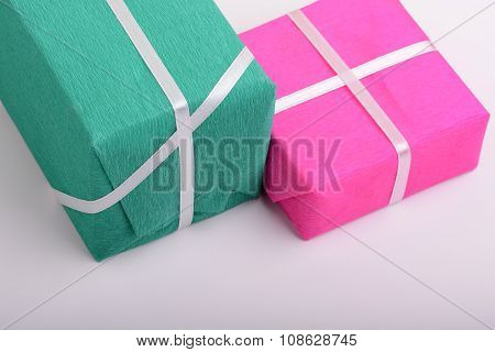 Gift Box Set With White Ribbon On White Background