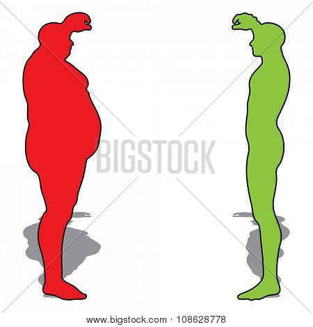 Concept or conceptual 3D fat overweight vs slim fit diet with muscles young man silhouette isolated on white background