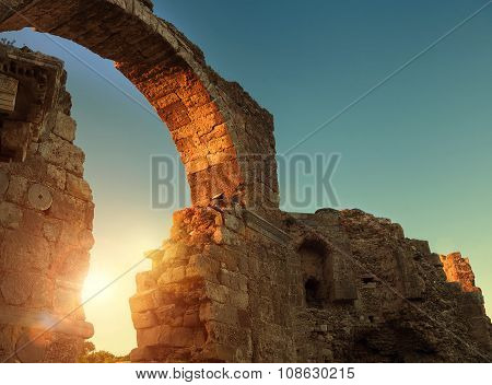 Side Archway Ruins In Sunset Time, Manavgat, Turkey