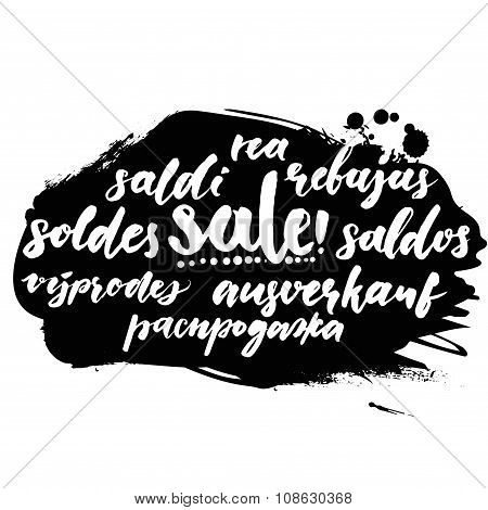 Sale word in different european languages. Soldes, soldi, rebujas, saldos, ausverkauf and rea. Black