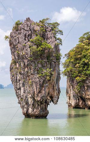 Khao Tapu Rock At Khao Phing Kan Island, Andaman Sea,  Thailand