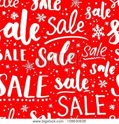 Christmas sale pattern with snowflakes and lettering. Seamless texture for winter promos and special