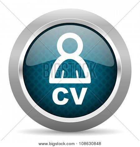 cv blue silver chrome border icon on white background