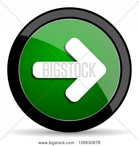 right arrow green web glossy circle icon on white background