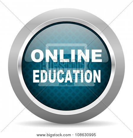 online education blue silver chrome border icon on white background